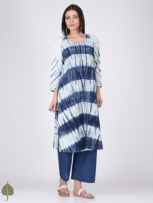 Indigo-White Shibori Cotton Kurta by Jaypore