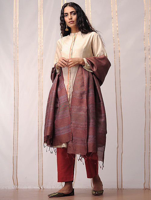 Rust-Blue Block Printed Tussar Silk Dupatta by Jaypore