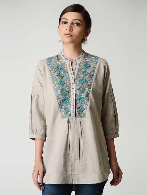 Beige Embroidered Mandarin Collar Cotton Top by Jaypore