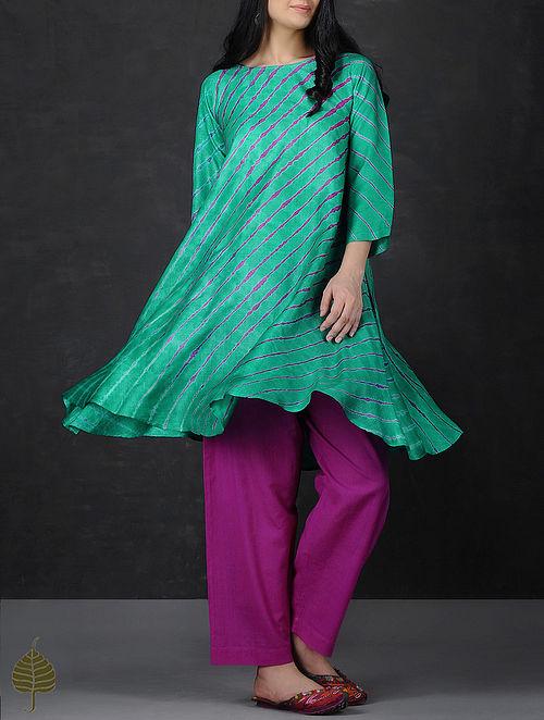 Green-Pink Asymmetrical Hem Tussar Silk Kurta by Jaypore