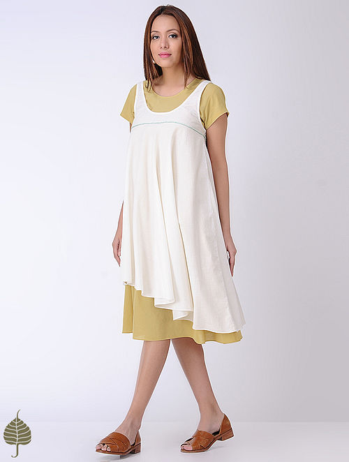 Yellow-White Cotton Dress with Embroidered detail by Jaypore (Set of 2)