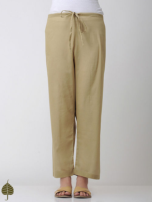 Beige Tie-up Waist Cotton Pants by Jaypore
