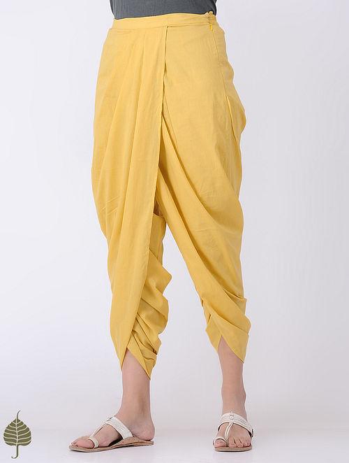 Yellow Elasticated-waist Cotton Dhoti pants by Jaypore