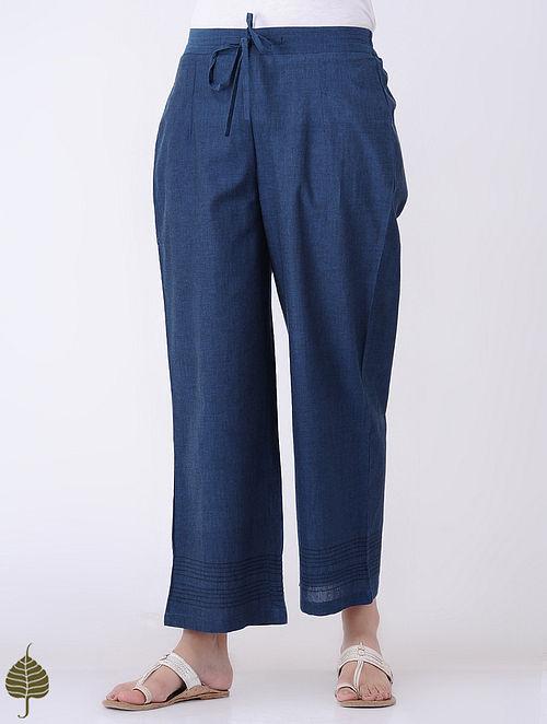 Indigo Elasticated-waist Cotton Kantha-embroidered Pants by Jaypore