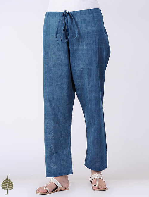 Indigo Natural dyed Tie-up Waist Cotton Pants by Jaypore
