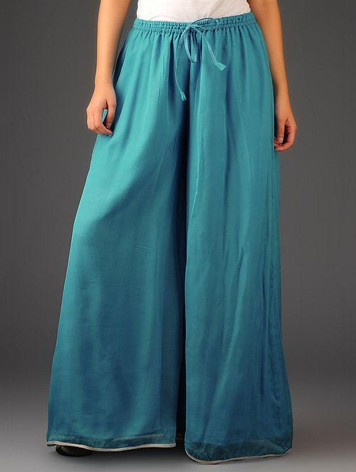 Turquoise-Silver Chiffon-Tissue Elasticated Waist Palazzos-Free Size
