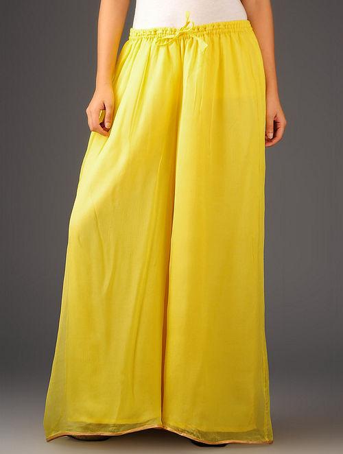 Yellow-Golden Chiffon-Tissue Elasticated Waist Palazzos-Free Size