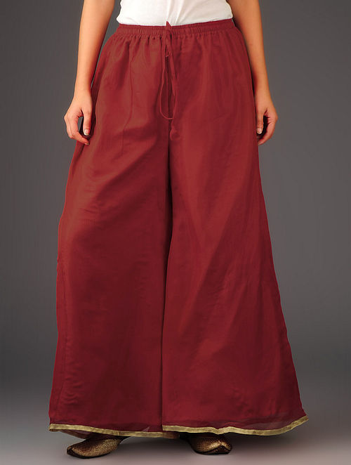 Red-Golden Chiffon-Tissue Elasticated Waist Palazzos-Free Size