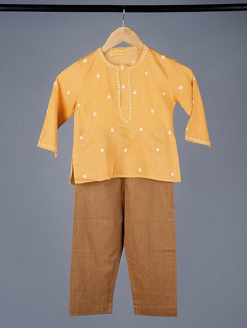 Orange-Brown Chikankari Embroidered Cotton Kurta Pajama (Set of 2)