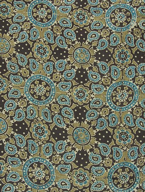 Black-Green-Blue Ajrakh Printed Cotton-Silk Kurta Fabric