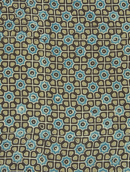 Blue-Black-Beige Ajrakh Printed Cotton-Silk Kurta Fabric