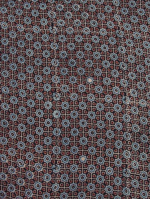 Black-Maroon-Blue Ajrakh Printed Cotton-Silk Kurta Fabric