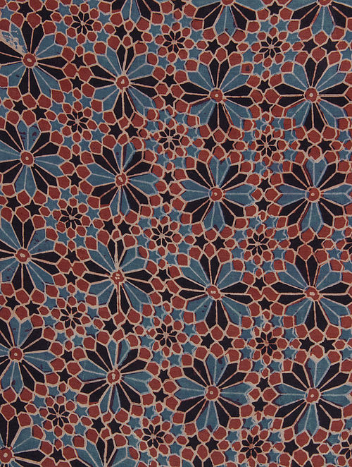 Red-Blue-Black Ajrakh Printed Cotton-Silk Kurta Fabric