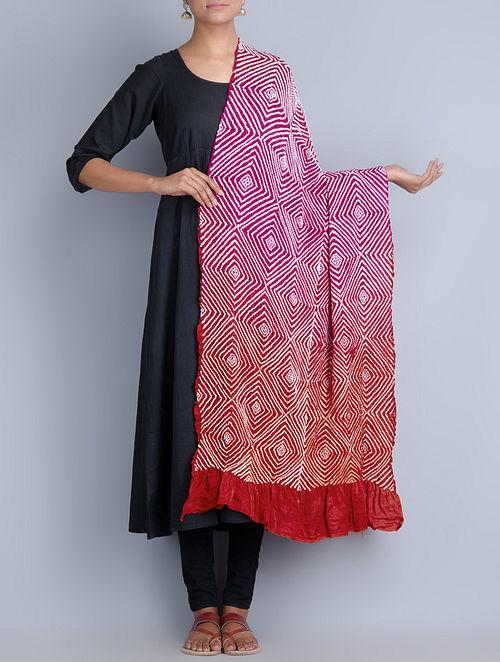 cca4e95b9ee8c Fuchsia-Red-White Gajji Silk Bandhani Dupatta The Jaypore Treasure Trove