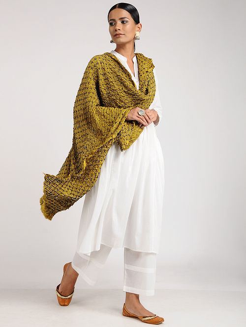 Yellow Bandhani Habutai Silk Dupatta