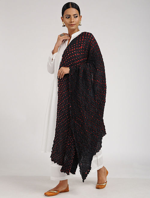 Black-Red Bandhani Habutai Silk Dupatta
