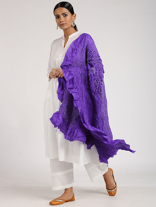 Purple-Ivory Bandhani Silk Dupatta