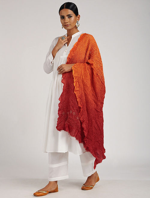 Orange-Red Bandhani Silk Dupatta