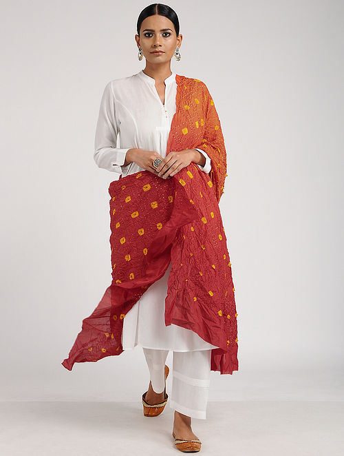 Orange-Yellow Bandhani Silk Dupatta