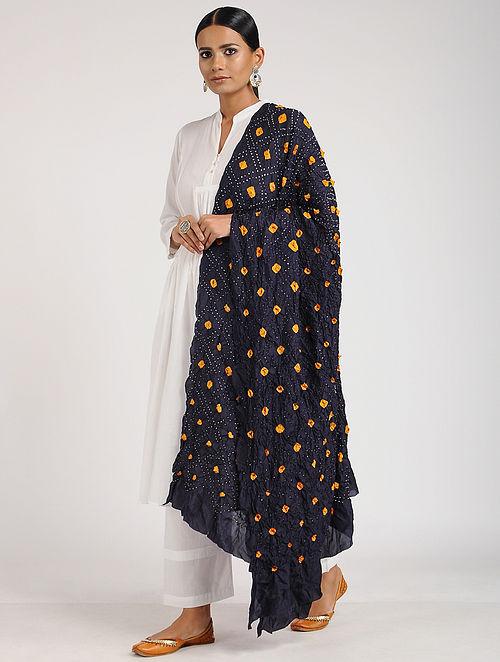 Black-Orange Bandhani Silk Dupatta