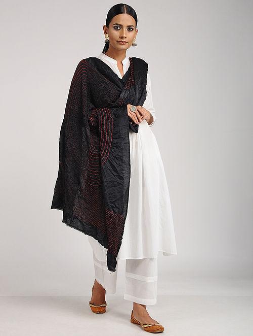 Black-Red Bandhani Silk Dupatta