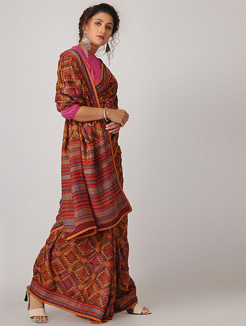 Buy Red Yellow Block Printed Kantha Embroidered Silk Saree Online