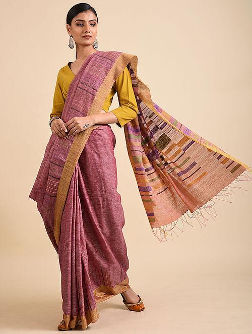 Pink-Brown Handwoven Jamdani Linen Saree