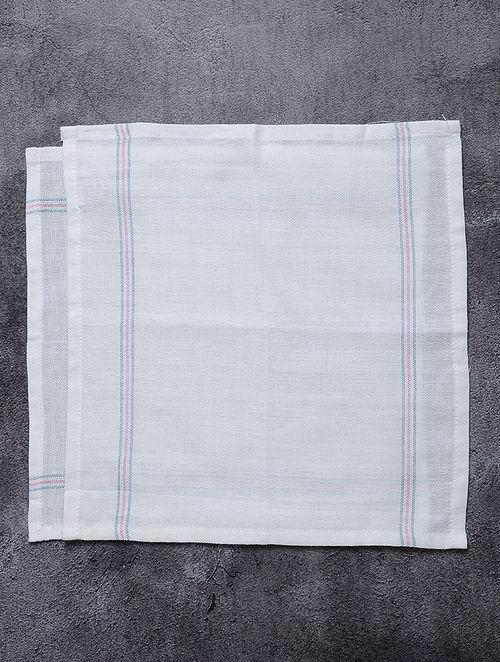 White-Blue Striped Cotton Utility Napkins (Set of 2)