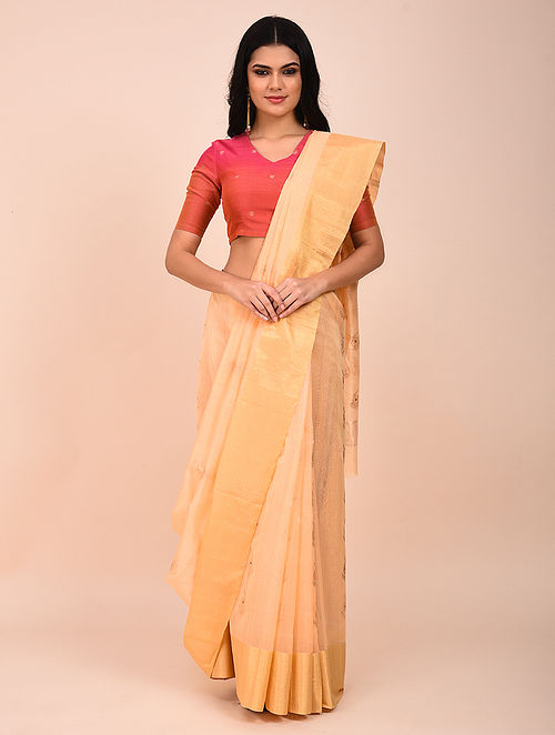 Peach Handwoven Chanderi Saree