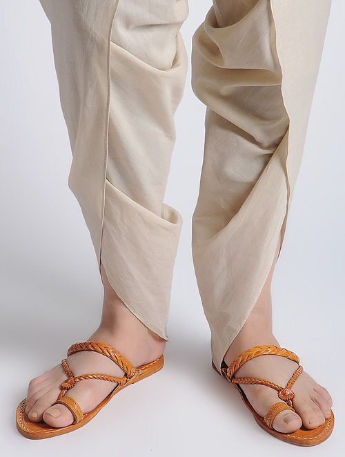 Orange Hand-crafted Leather Kolhapuri Flats