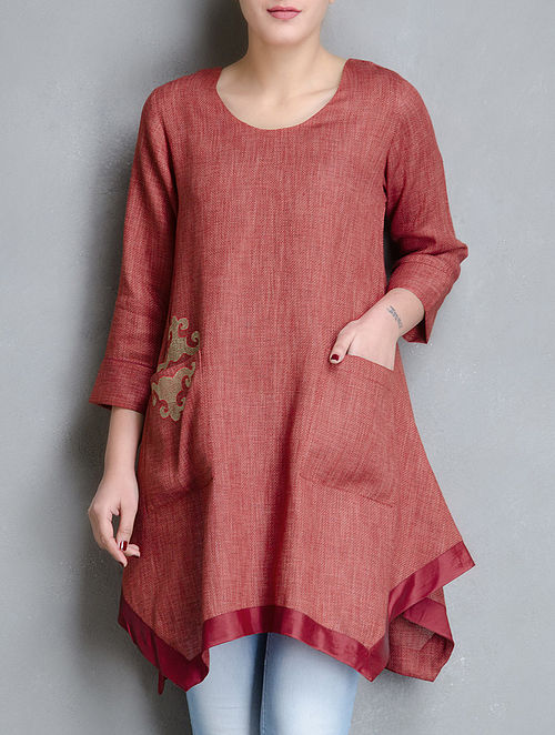 Red Front Pocket Matty Linen Tunic with Mongolian Embroidery-M