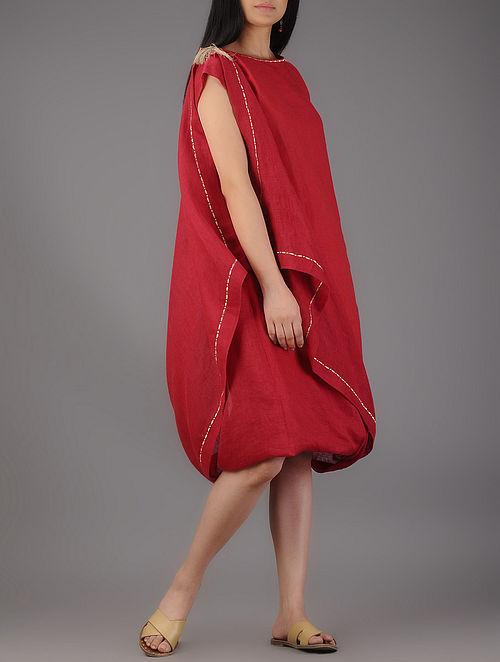 Red Fold Up Linen Dress