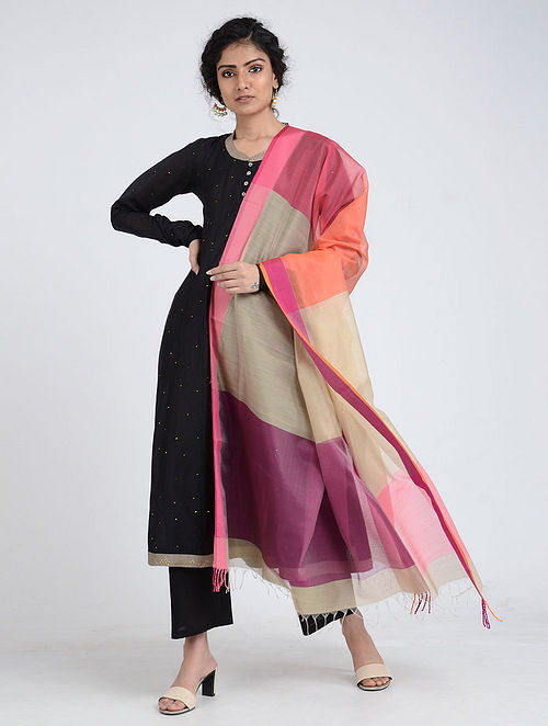 Beige-Pink Silk Cotton Dupatta