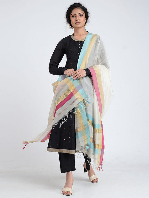 Ivory-Turquoise Silk Cotton Dupatta with Zari