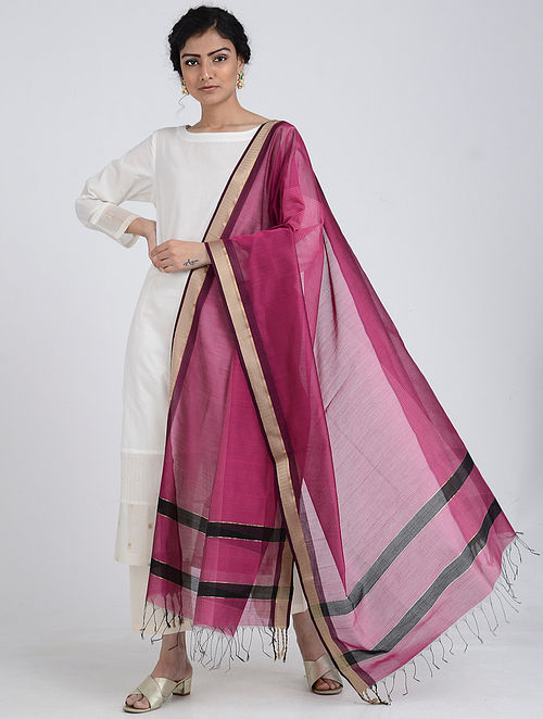 Pink Silk Cotton Dupatta with Zari