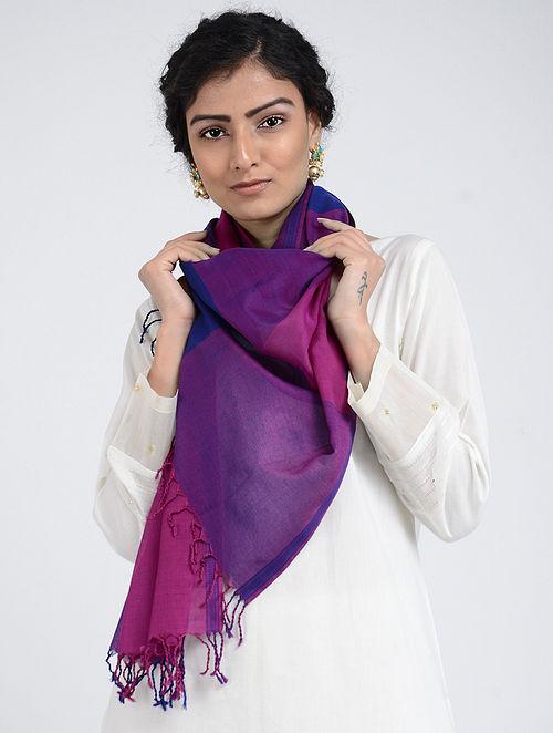 Purple-Blue Silk Cotton Stole