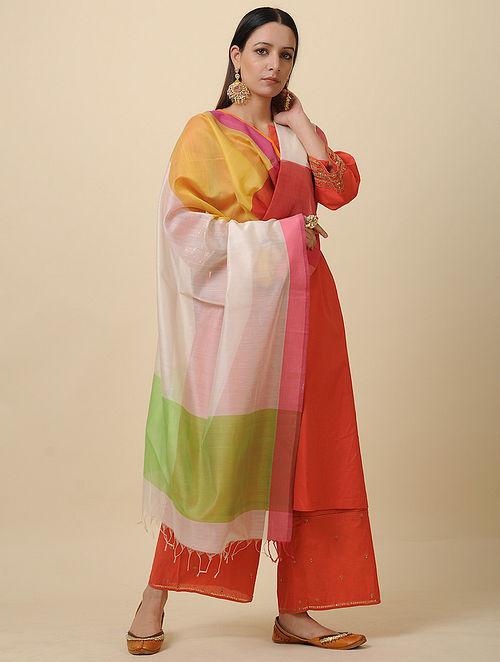 Ivory-Green Handwoven Silk Cotton Dupatta