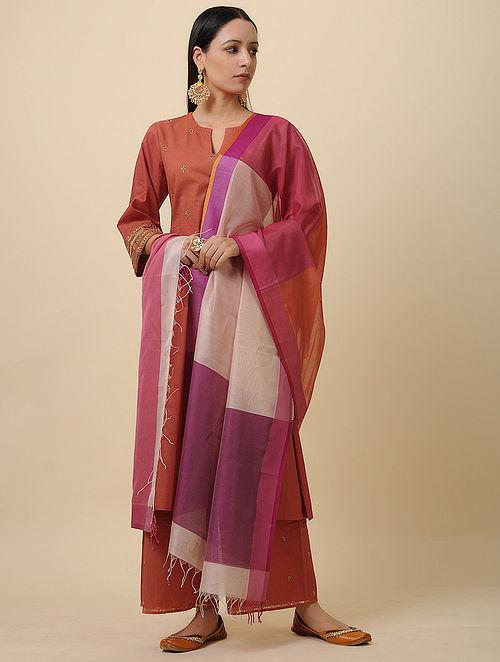 Purple-Ivory Silk Cotton Dupatta