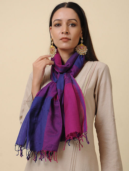Blue-Pink Handwoven Silk Cotton Stole