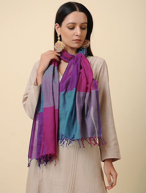 Purple-Blue Handwoven Silk Cotton Stole