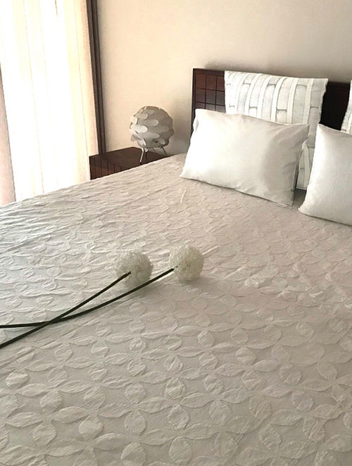 Janet White Applique Cotton and Organza Double Bed Cover (108in x 90in)