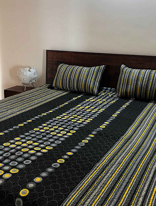 Abrian Black-Yellow Block Printed Quilted Cotton Double Bed Cover Set (Set of 3) (108in x 90in)