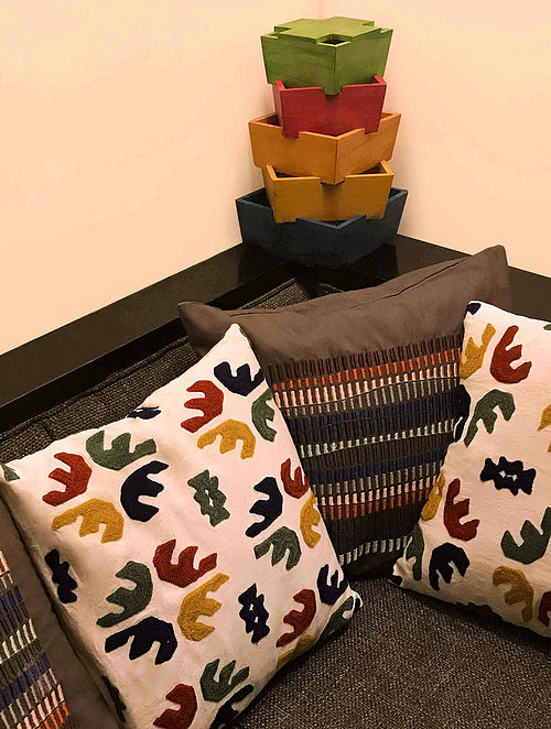 Elquinova Multicolored Hand Block-printed Cotton Cushion Covers (Set of 4) (16in x 16in)