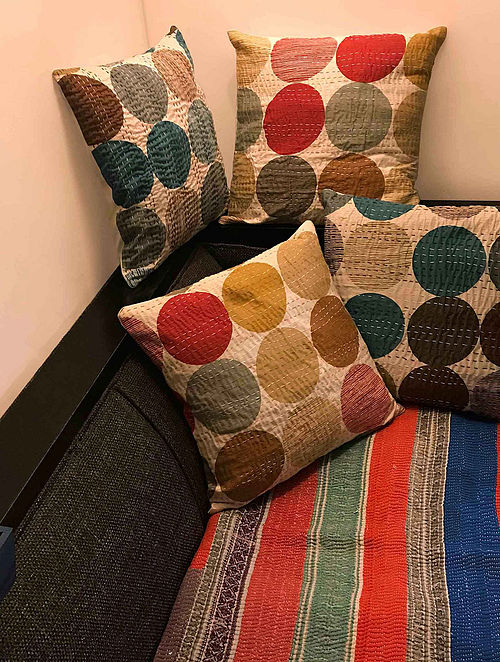Etheniva Multicolor Block-printed Cotton Cushion Covers with Kantha Work (Set of 4) (16in x 16in)