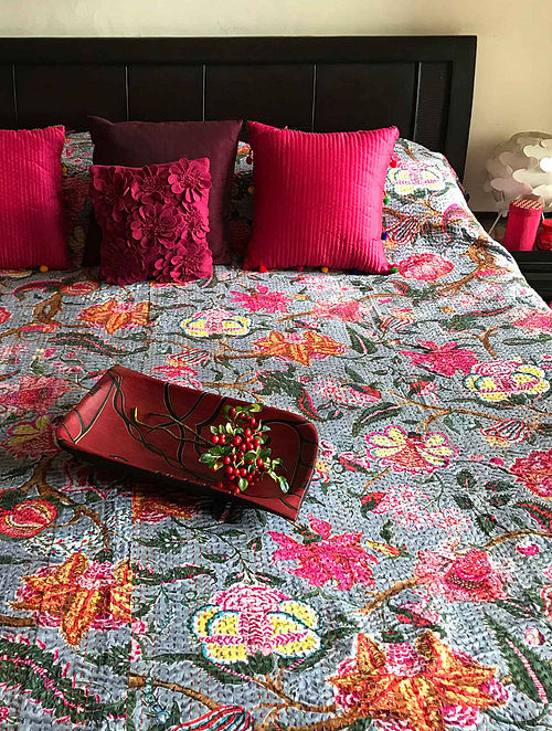 Jasmine Blossom Multicolored Cotton Double Double Bedcover With Kantha Work (108in x 90in)