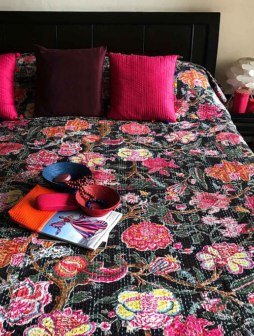 Jewel Weed Blossom Multicolored Cotton Double Bedcover With Kantha Work(108in x 90in)