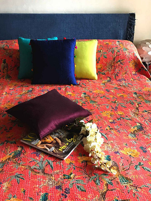 Javvy Blossom Multicolored Cotton Double Bedcover With Kantha Work(108in x 90in)