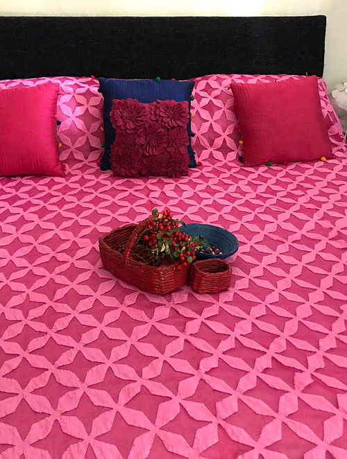 Shannon Splendour Pink Hand Crafted Cotton and Organza Bedcover (108 x 90)