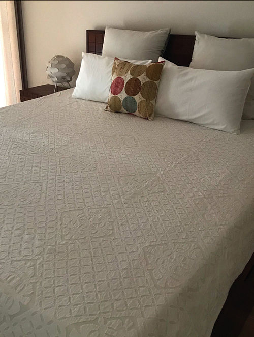 Sonnet Splendour White Hand Crafted Applique Cotton and Organza Bedcover (108 x 90)