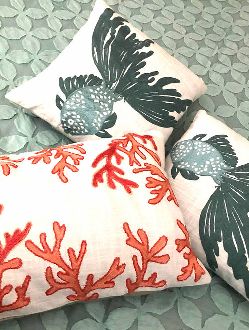 Peony Luxe White Hand Crafted Embroidered Cotton Cushion Cover (22in x 14in)